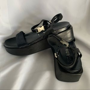 Prada Black Leather Flatform Sandals